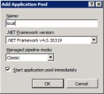 Пул приложений узла local с Asp.Net v4.0