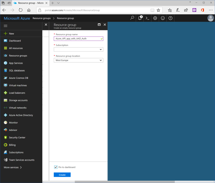 dashboard and azure resource group